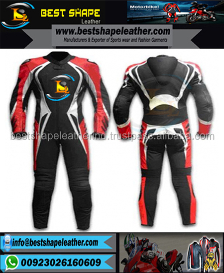 Newest ever style cowhide leather suit with race hump and CE approved armor / Racing 2 Piece Suit - White, Black, Red