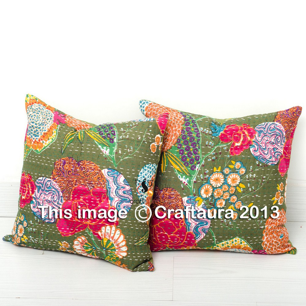 "TROPICAL KANTHA PRINTED 16"" FLORAL INDIAN HANDMADE WHOLESALE PILLOW CASES 100% COTTON HOME DECOR THROW CUSHIONS COVERS"