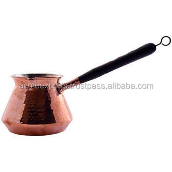 Coffee Making Pot in 100% Pure Solid Copper for Turkey With Wooden Handle