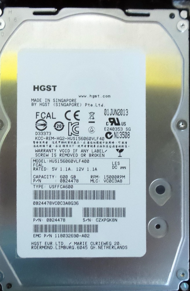 "lot of 25 HGST 600GB 15000 RPM 3.5"" Fiberchannel HDD 0B24478"