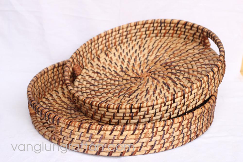 Round Basket Serving Tray Saved Metal Rectangular Wire