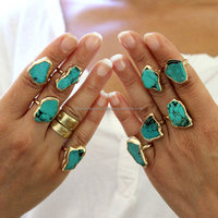 Wholesale Gemstone Jewelry, Custom Natural Stone Rings Jewelry,Turquoise Gemstone Ring