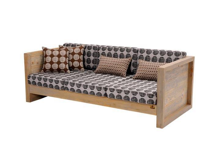 Lounge sofa set cubo 100 recycled pine wood in color for Sofa exterior reciclado