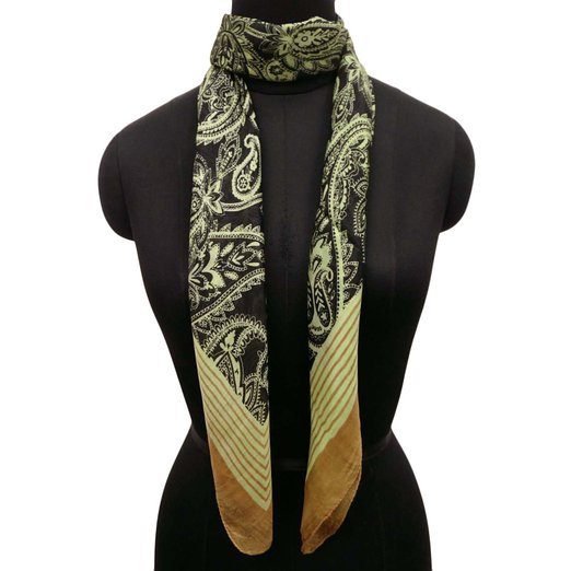 Stylish Fashion Stole Wrap Pure Silkscarf Paisley Print Black Stole Women Scarve Neck Wear GiftSFP3540