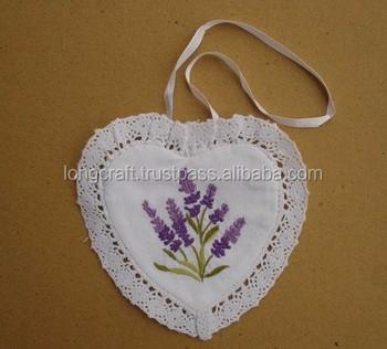 Hand Embroidered Lavender Sachet Bag Pillow Lavender Heart Design
