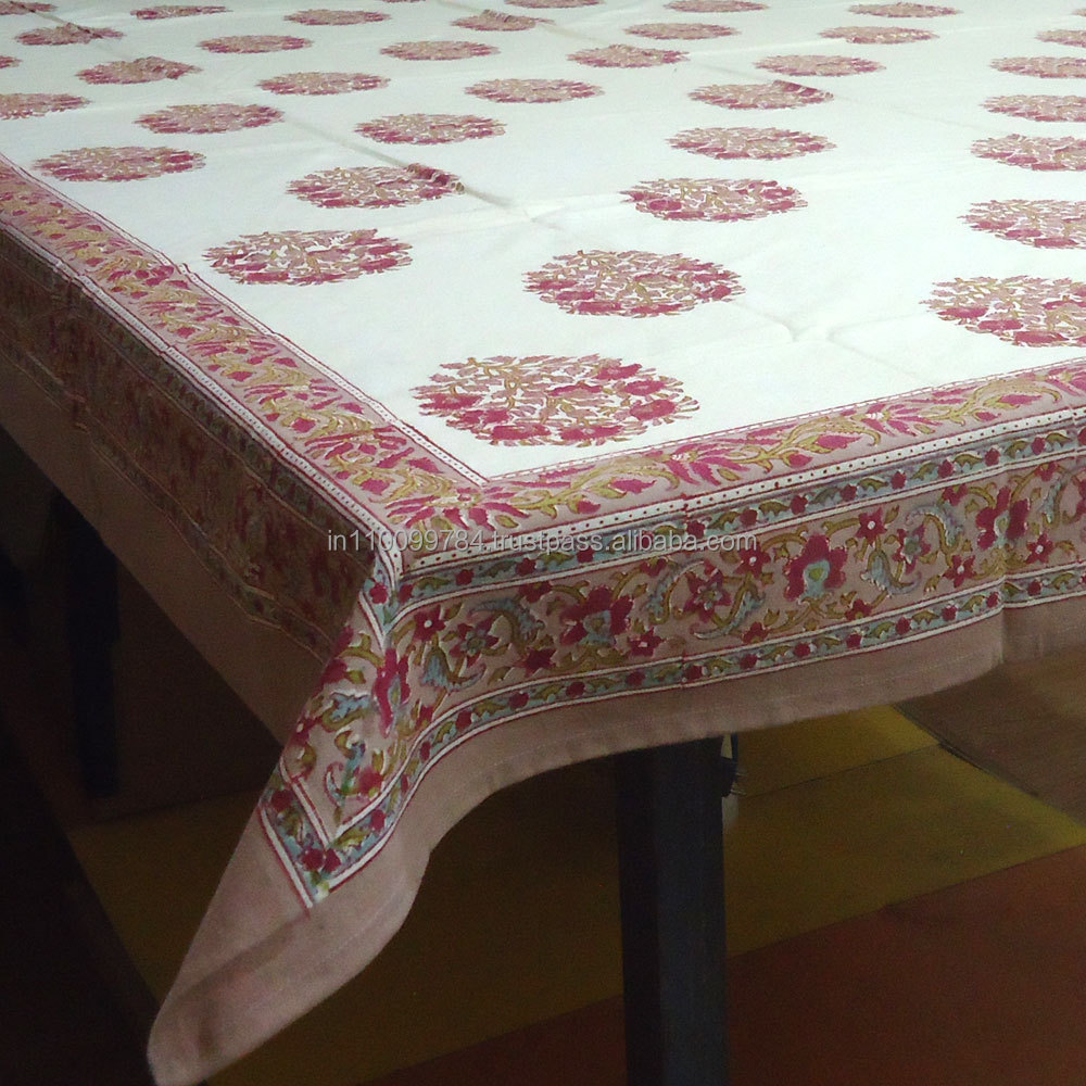 Cotton Tablecloth Hand Block Printed Genda Phool Buta