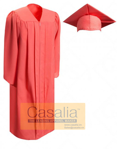 Wholesale Best quality Women Matte Pink Graduation Gowns and Caps For School
