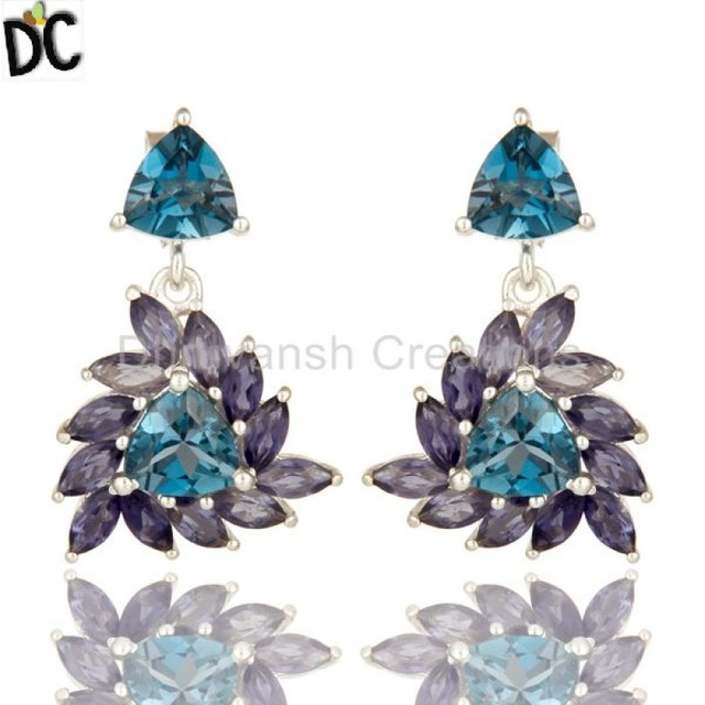 ac59b467fc0c New Design Iolite and London Blue Topaz Gemstone Earring 925 Fine Silver  Womens Earring Manufacturer Jaipur