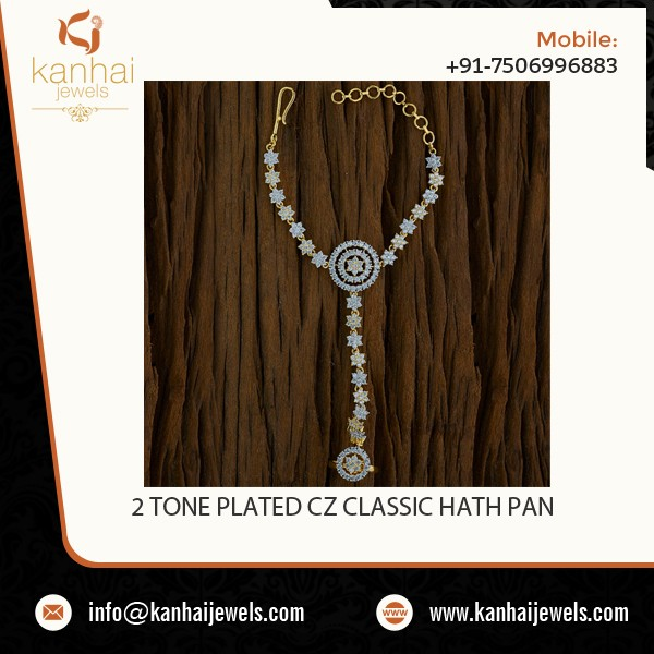 Attractive Bold Design Gold Plated Classic CZ Hath Pan - 52959