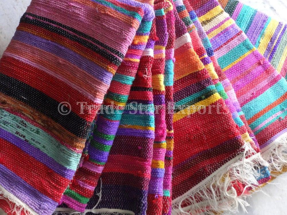 Indian Chindi Dhurrie Handloom Art Handmade Rugs Carpets Vintage Rag Rug