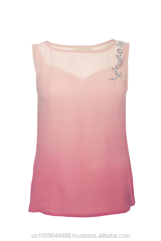 f195516a228 Nwt 100% Silk Pink Ombre Sleeveless Blouse/top - Buy Silk Georgette Top  Product on Alibaba.com
