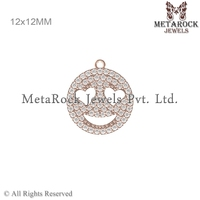 14k Solid Rose Gold Pave Diamond Smiley Face Charm Connector Finding Jewelry Wholesale Manufacturer