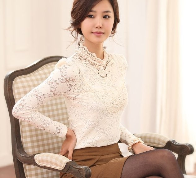 ae24d2566 100% warranty high neck knitted office long sleeve blouses tops 2015  fashion lace shirt women tops