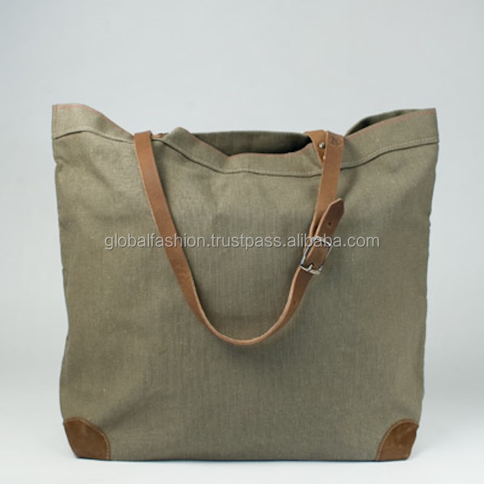 Canvas Leather Tote Bag/leather Handle Tote Bag/heavy Duty Canvas ...