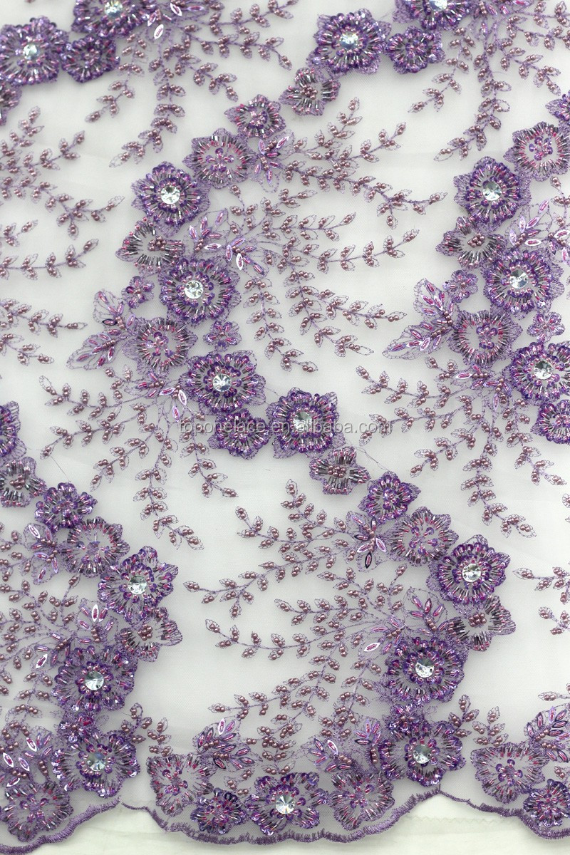 Purple Tulle Beaded Lace Fabric Wholesale/cheap Mesh Lace Fabric ...