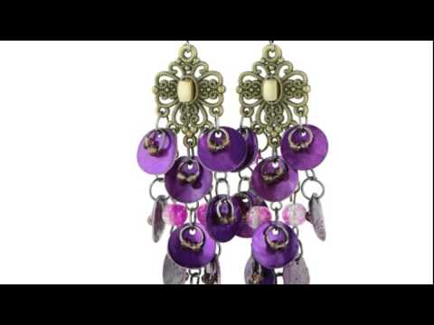 Gold Tone Filigree 3 Inch Butterfly Swirl Earrings with Shimmering Purple   Discs and Pink Beads ...