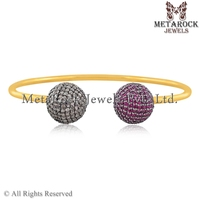 14k Yellow Gold Plated Pave Diamond Ruby Gemstone Cuff Bangle Bracelet Women 925 Sterling Silver Jewelry Wholesale