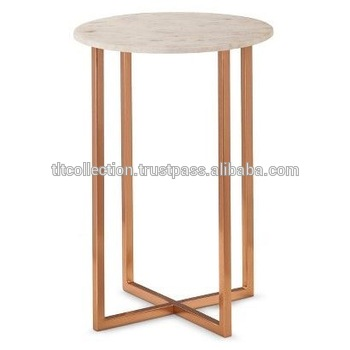 Marble Top On Stool Copper Coffee Table