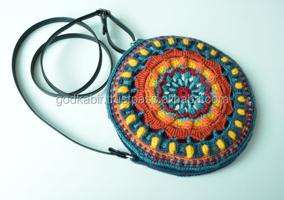 Crocheted Bag Pattern Round Purse With Mandala Overlay Crochet