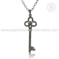 Spectacular Diamond Gemstone 925 Silver Jewelry Pendant Handmade Silver Pendants Wholesaler Silver Pendants India