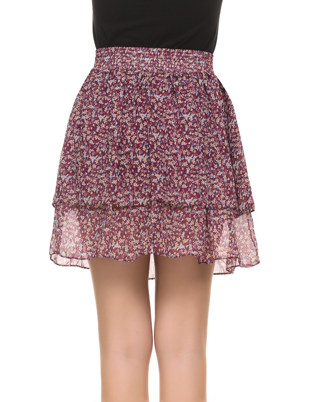 Plus Size Floral Print Layered Chiffon Mini Skater Skirt