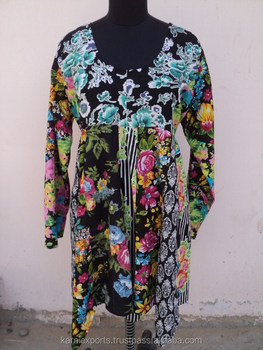 fa9da28b901c Floral Design Printed Cotton Round Neck Pattern Printed Beautiful Maxi Dress    Gown