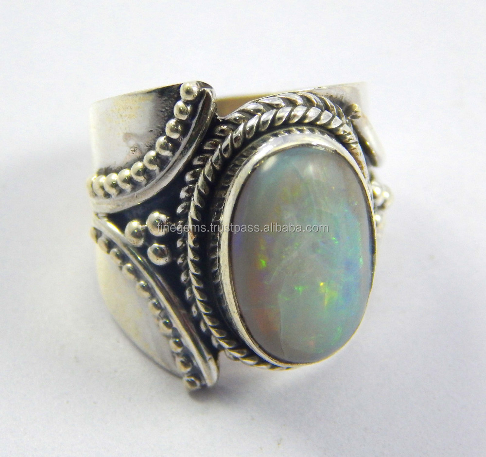 Natural Australian Opal Ring 925 Sterling Silver Jewelry