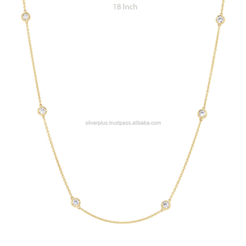 37a272f2831 Solitaire Diamond 18k Yellow Gold Chain Necklace
