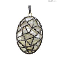 Pave Diamond14k Gold Mother of Pearl Cage Gemstone Pendant