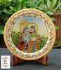 Indian Marble Thali Plate Handicraft Religious Gift Decor Miniature Painting radha krishna Rajasthan