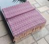 Alpaca Throw Blanket of Purple with Beige Color