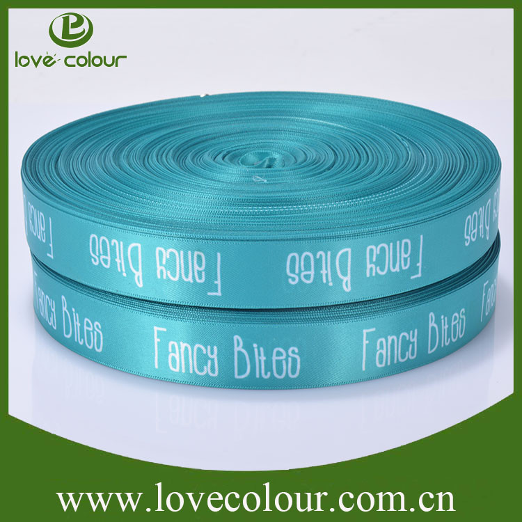 Custom logo polyester printed satin ribbon