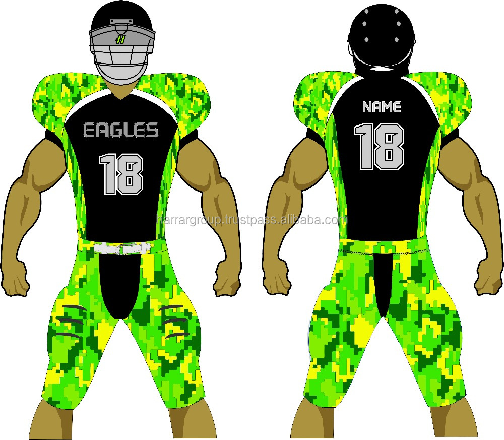 custom youth adult camo design sublimation tackle twill american football uniform integrated
