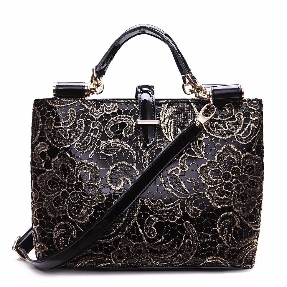 Lace Bags For Women Leather Handbags Tote Bags Female Retro Black Handbag  Flower Grab