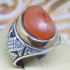 925 sterling silver men ring natural vintage genuine yemen red agate aqeeq ring