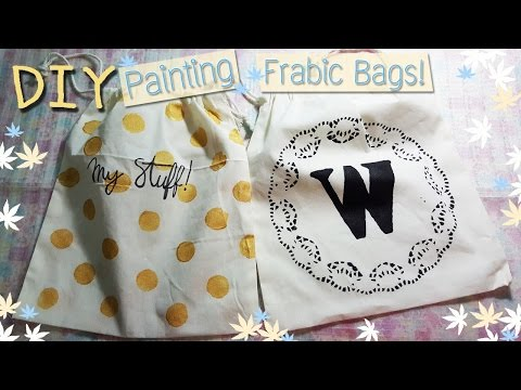 DIY : Gold Polka dot & Lace Pattern Fabric Bag Painted with Acrylic Color