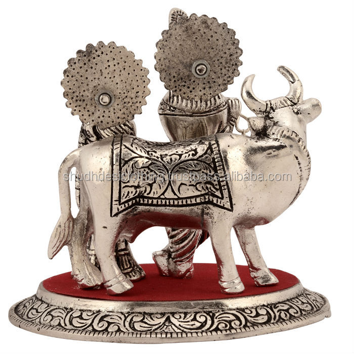 Ideas For Wedding Offertory Gifts : Exclusive Whilte Metal Statues- Lord Radha Krishna StatueBuy Metal ...