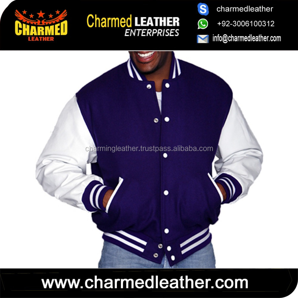 varsity jackets genuine cowhide miled leather sleeves