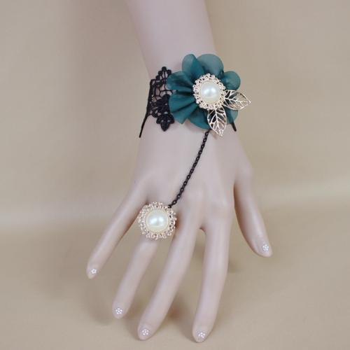 adjustable Bracelet Ring Lace with Chiffon & Glass Pearl & Zinc Alloy plated good price for sale 468046