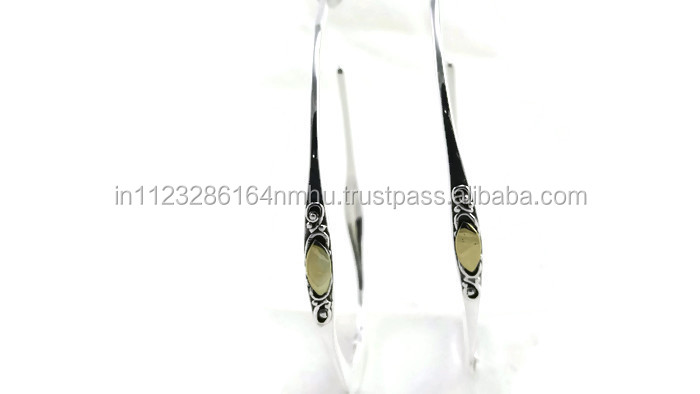 925 sterling silver artisan crafted hoop earring with 18k gold accents