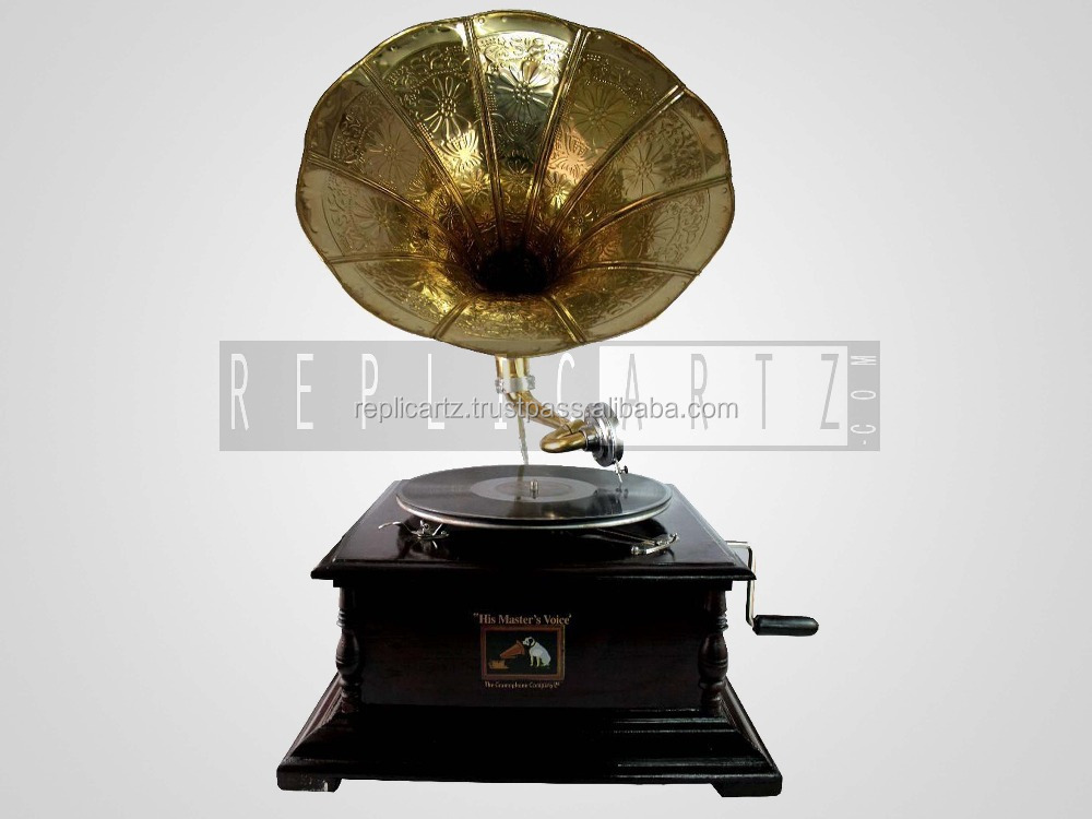Replica Gramophone Player 78 rpm Round phonograph Brass Horn HMV Vintage Wind up