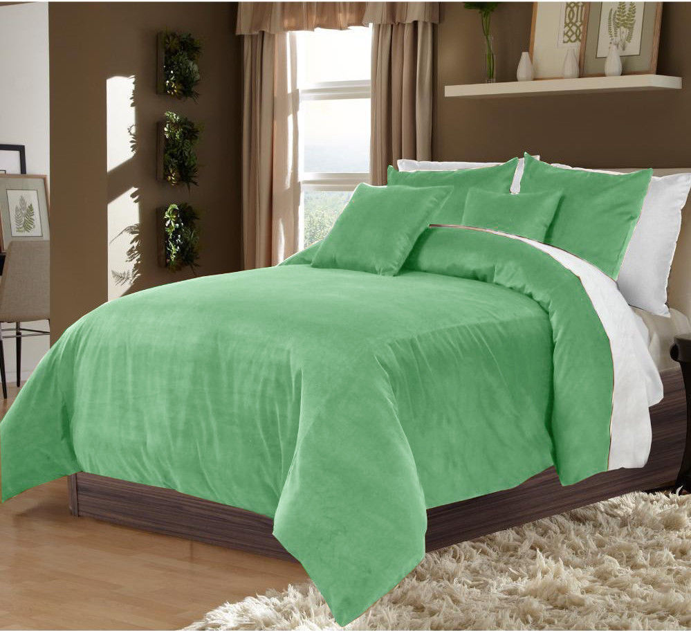 Trending hot product Sage Green & White UK KIng Size Velvet Reversible duvet cover set with pillow cover - Best quality