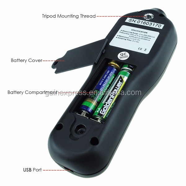 Digital Light Meter Lux Meter with Data Logging Measurement Range 0 to 200,000 Lux with Detachable sensor