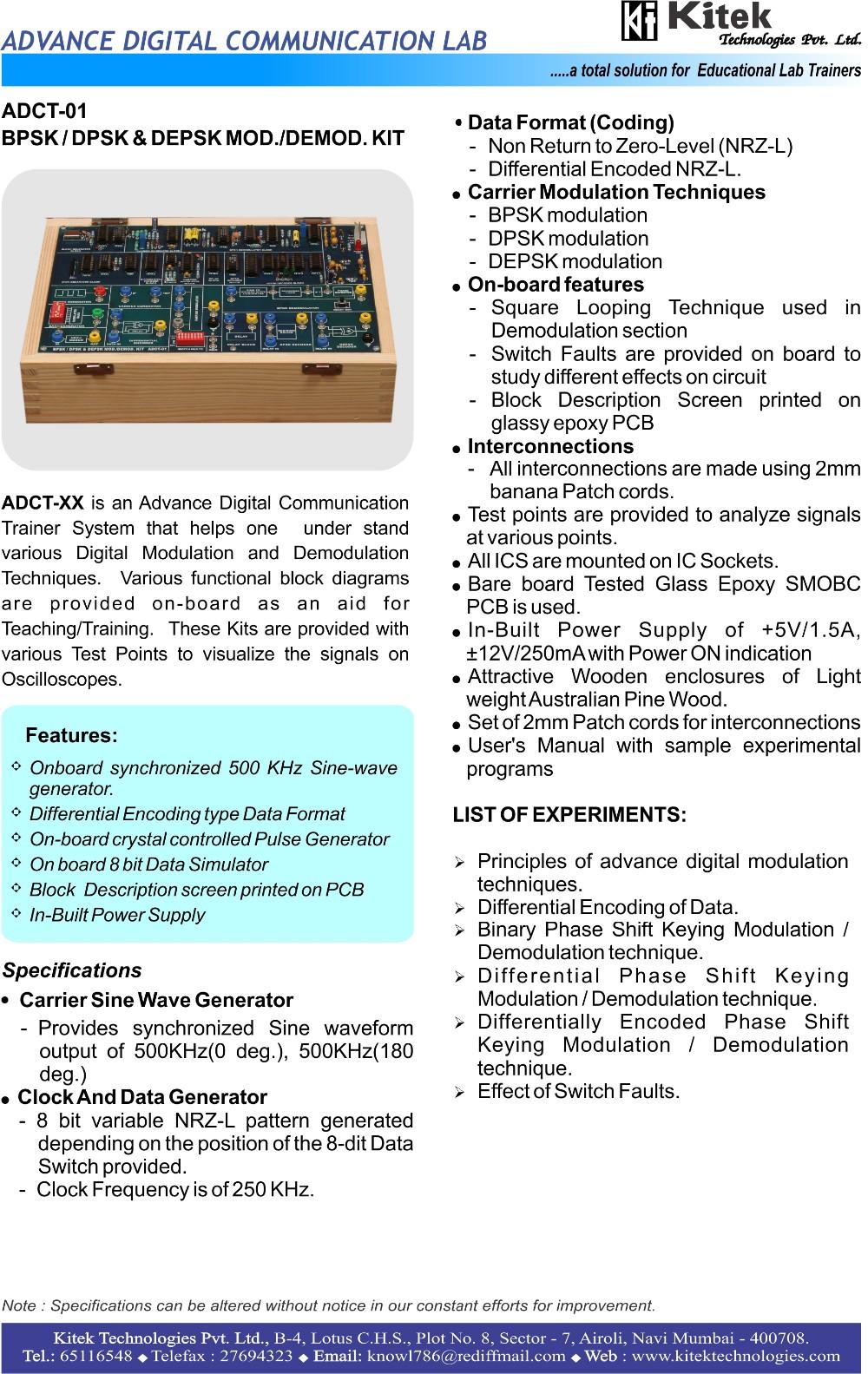 DATA CONDITIONING COMMUNICATION TRAINER KIT / COMMUNICATION LAB TRAINER,  View DATA CONDITIONING KIT, Kitek Product Details from KITEK TECHNOLOGIES
