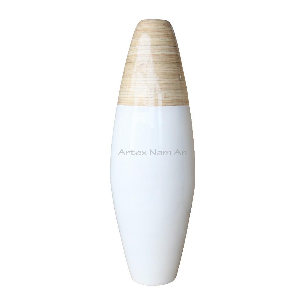 Natur Und Weisse Farbe Gesponnenen Bambus Vase Coiled Bambus Vase