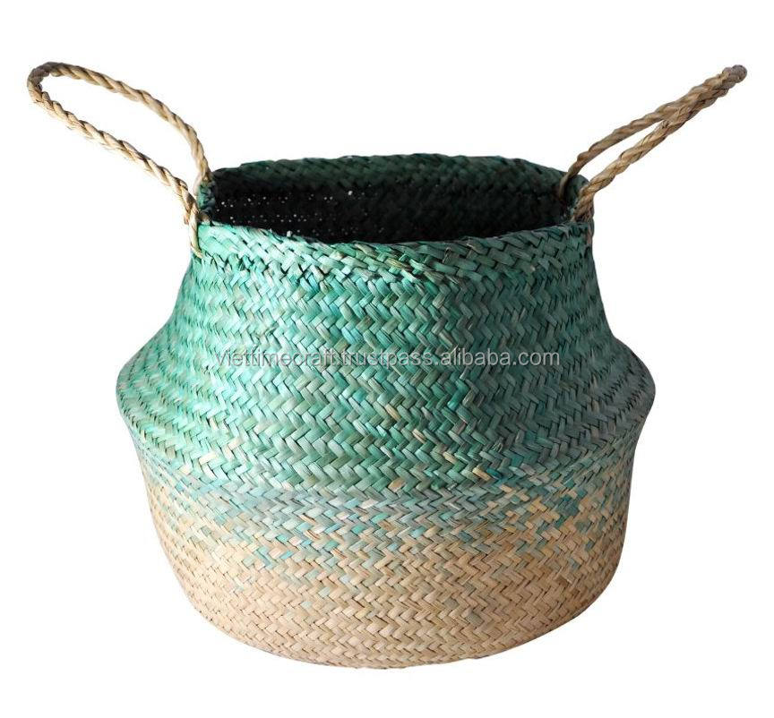 Black Ombre Seagrass Belly Basket