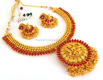 b14637059afc5 South Indian Laxmi Coin Temple Jewelry - Wholesale Wedding Wear Jewelry Set  -traditional One Gram Gold Plated Ginni Necklace Set - Buy Antique Jewelry  ...
