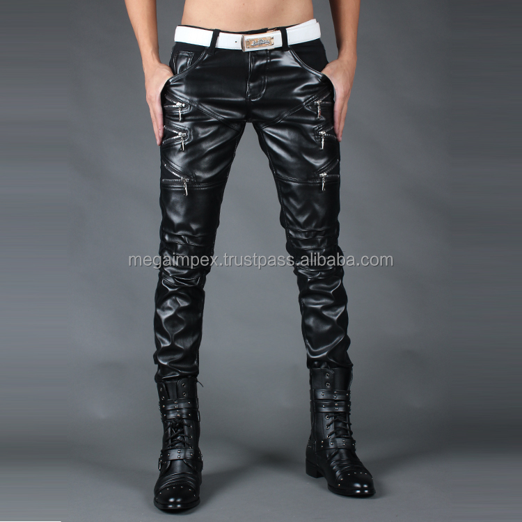 Men black Leather Trouser / Men Leather Jeans / Side lace Leather pant