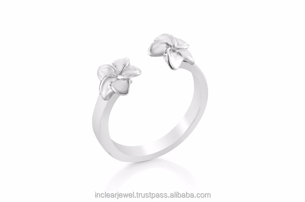 925 sterling silver jewelry Plumaria Double Little Flower Ring (Free Size)