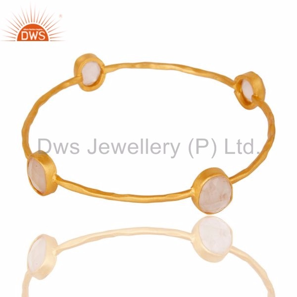 22K Yellow Gold Plated Brass Natural Rose Quartz Gemstone Stackable Bangle For Women Jewelry Wholesaler And Manufacturer